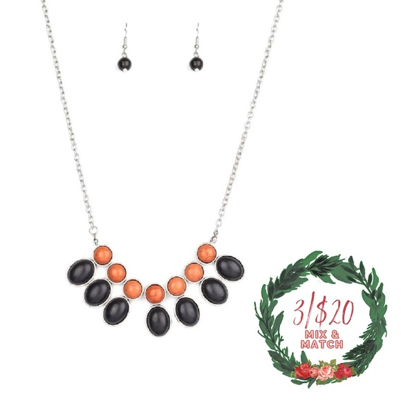 Black & Brown Stone Silver Necklace and Earrings